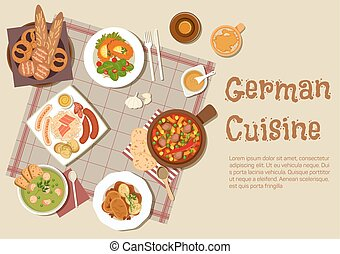Authentic german meat dishes flat icon - Authentic german...
