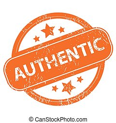 Authentic grunge icon - Authentic orange grunge rubber stamp...