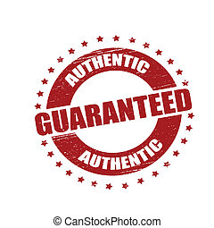 Stamp with text authentic guaranteed inside, vector illustration