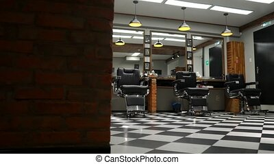Authentic haircut for men. Barbershop in retro style....