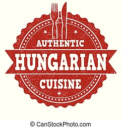 Authentic hungarian cuisine grunge rubber stamp
