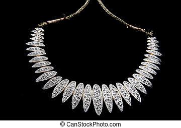 authentic indian jewelery isolated on black background