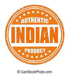 Authentic indian product grunge rubber stamp on white, vector illustration