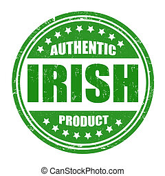 Authentic irish product grunge rubber stamp on white, vector illustration
