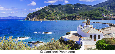 Beautiful islands of Greece - Skopelos. Old town, view with chuch. Sporades