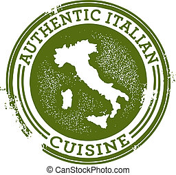 Authentic Italian Food - Distressed style stamp featuring ...