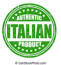 Authentic italian product grunge rubber stamp on white, vector illustration