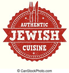 Authentic jewish cuisine grunge rubber stamp