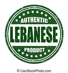 Authentic lebanese product grunge rubber stamp on white, vector illustration