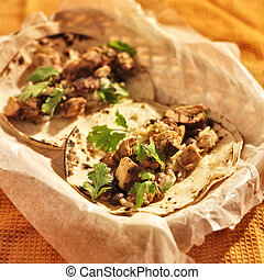 authentic mexican chicken tacos in basket