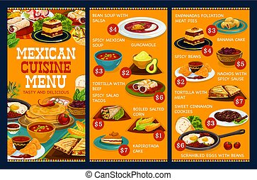 Authentic Mexican cuisine food, Mexico cafe menu