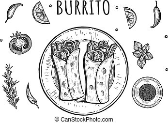 Authentic mexican food burito set
