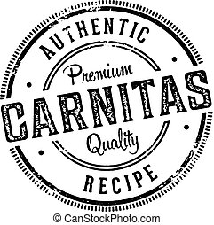 Vintage stamp for Mexican restaurant menu design. Authentic pork carnitas.