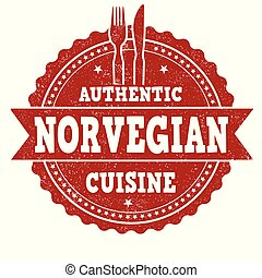 Authentic norvegian cuisine grunge rubber stamp