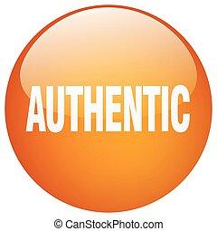 authentic orange round gel isolated push button