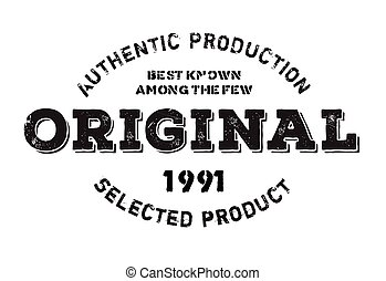 Authentic original product stamp. Grunge design with dust scratches. Effects can be easily removed for a clean, crisp look. Color is easily changed.