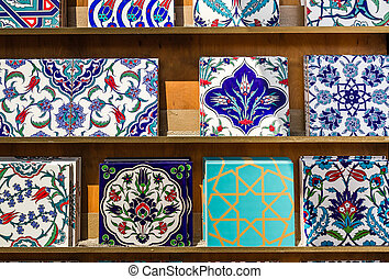 Authentic Ottoman, Turkish Wall Tiles with Historic Patterns
