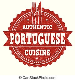 Authentic portuguese cuisine grunge rubber stamp