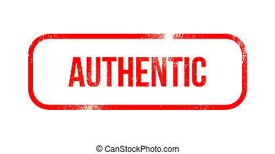 Authentic - red grunge rubber, stamp