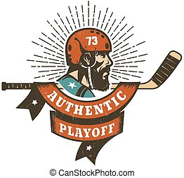 Authentic retro hockey playoff logo