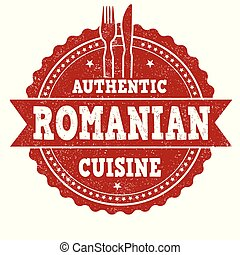 Authentic romanian cuisine grunge rubber stamp