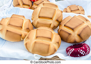 Authentic rustic bread in a basket