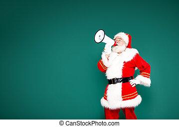 Authentic Santa Claus with white beard screaming through megaphone