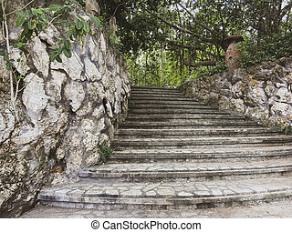 Authentic staircase in the jungle. Steps leading to a tropical park. Masonry and stone walls. Old jug among the trees.