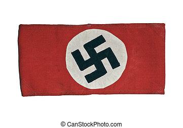 Authentic Swastika Armband From World War II On White Background