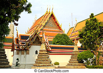 Authentic Thai Architecture in Wat Pho at Bangkok of Thailand.