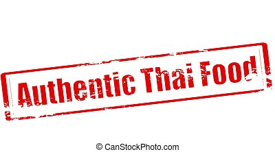 Authentic Thai food - Stamp with text authentic Thai food...