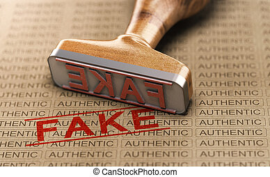 Authentic vs Fake Poduct. Counterfeit Concept - Rubber stamp...