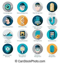 authentication, biometric, iconos