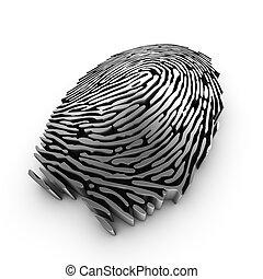 authentication, fingerabdruck, darstellung, oder, anerkennung, 3d