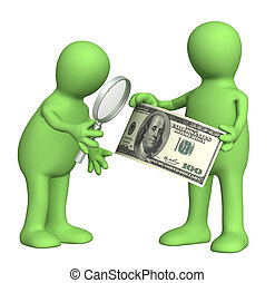 Authentication of the banknote. Two puppets with loupe and dollar banknote
