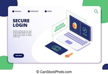 authentication, und, authorization., duo, internet, identität, sicherheit, multi, password., authentisch, isometrisch, 3d, vektor, begriff