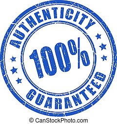 Authenticity guaranteed rubber stamp isolated on white...