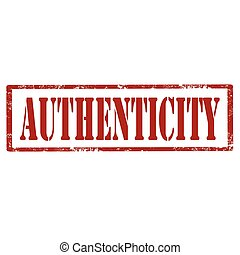 Authenticity-red stamp - Grunge rubber stamp with text...