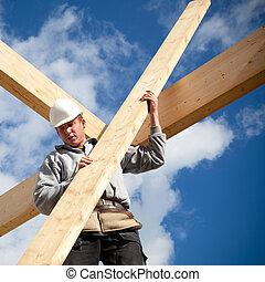 authentiek, arbeider, bouwsector