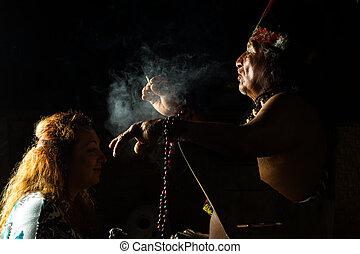 authentiek, shaman, ceremonie