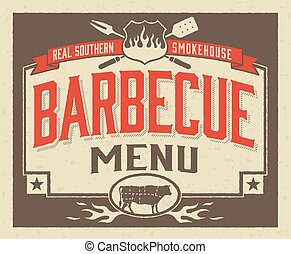 authentique, barbecue, méridional, menu