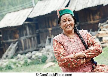 authentique, indien, pays, villageois, femme