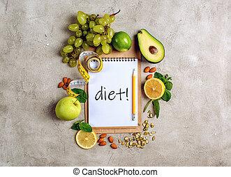 authentique, nourriture, sain, concept, fond, vegetable.
