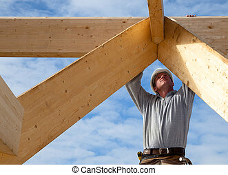 authentique, ouvrier, construction
