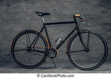 authentique, vendange, unique, bicyclette vitesse, sur, gris, arrière-plan.