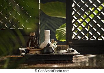 authentique, vue, spa, objets, thème, couleur, tropique, dos