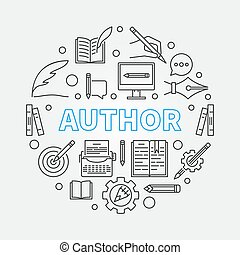 Author vector round illustration made with line icons -...