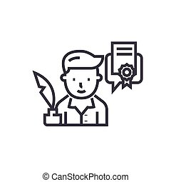 author, writer concept vector thin line icon, symbol, sign, illustration on isolated background