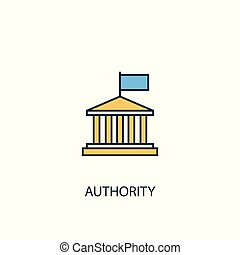 authority concept 2 colored line icon. Simple yellow and blue element illustration. authority concept outline design