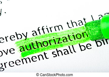 authorization word text